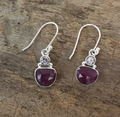 Natural Ruby and Aquamarine Sterling Silver Earrings