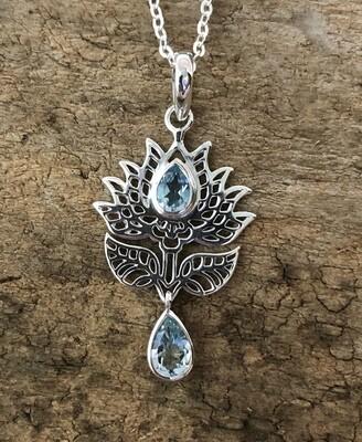 Aquamarine Lotus Flower Pendant Necklace