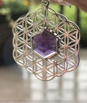 Sacred Geometry Amethyst Pendant Necklace
