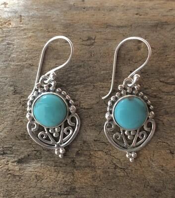 Persian Turquoise Sterling Goddess Earrings