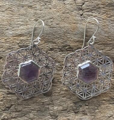 Amethyst Sacred Geometry Mandala Drop Earrings
