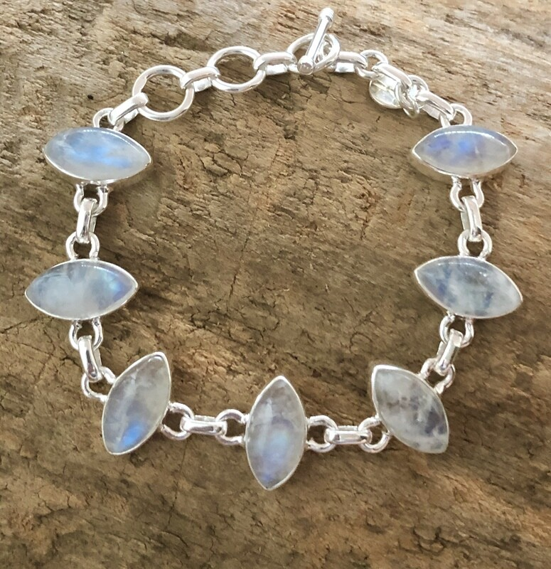 Rainbow Moonstone Sterling Silver Toggle Bracelet