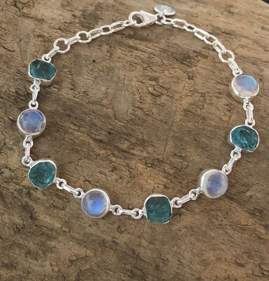 Rough Apatite and Rainbow Moonstone Sterling Bracelet