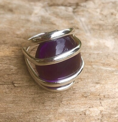 Large Amethyst Sterling Silver Cage Ring Size 8