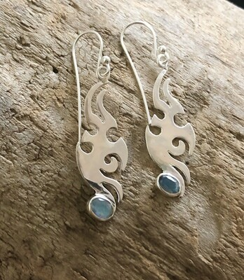 Sterling Silver Blue Labradorite Tribal Earrings