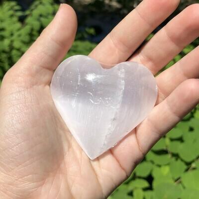 White Selenite Heart