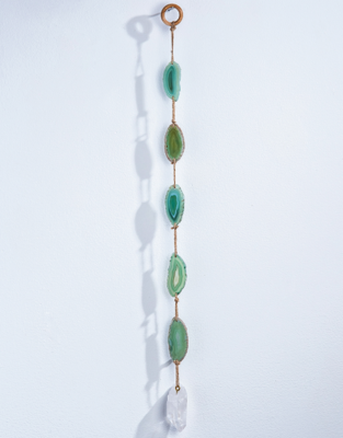 Green Agate With Clear Quartz Suncatcher Wall Hanging