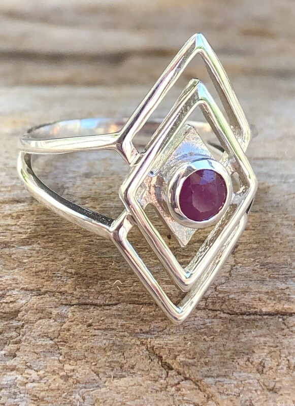 Natural Ruby Sacred Geometry Triangle Ring Size 7