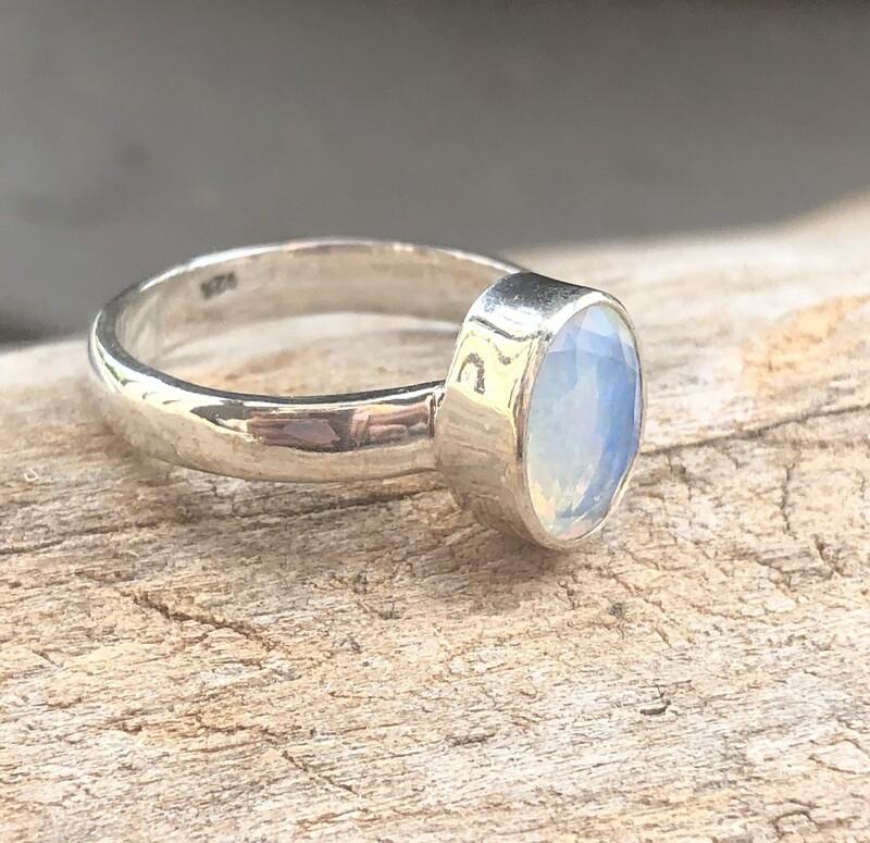 Ethiopian Fire Opal Sterling Silver Ring Size 8