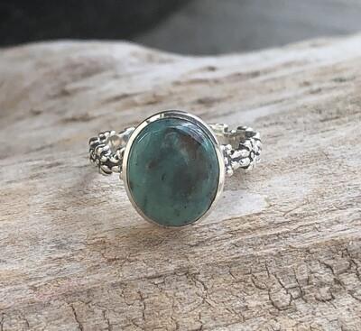 Chrysocolla Gemstone Flower Ring Size 7