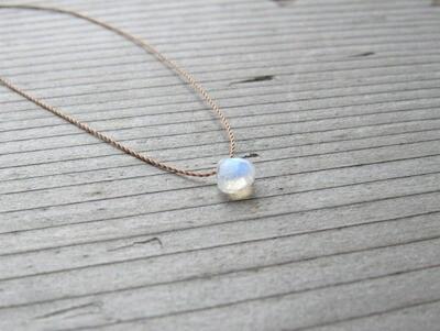 Rainbow Moonstone Silk Pendant Necklace