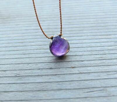 Amethyst Minimalist Cord Necklace