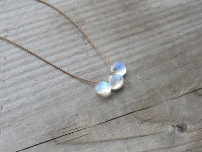 Rainbow Moonstone Drops Triple Cord Necklace