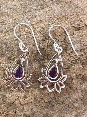 Sterling Amethyst Lotus Flower Dangle Earrings