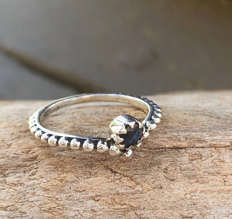 Sapphire Sterling Silver Mid Finger Knuckle Ring