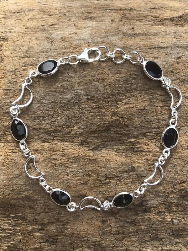 Sterling Moons and Amethyst Bracelet