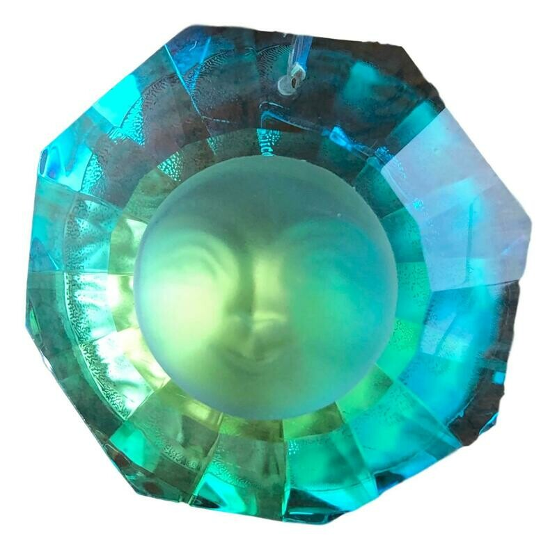 Egyptian Crystal Aurora Borealis Sun Face Drop