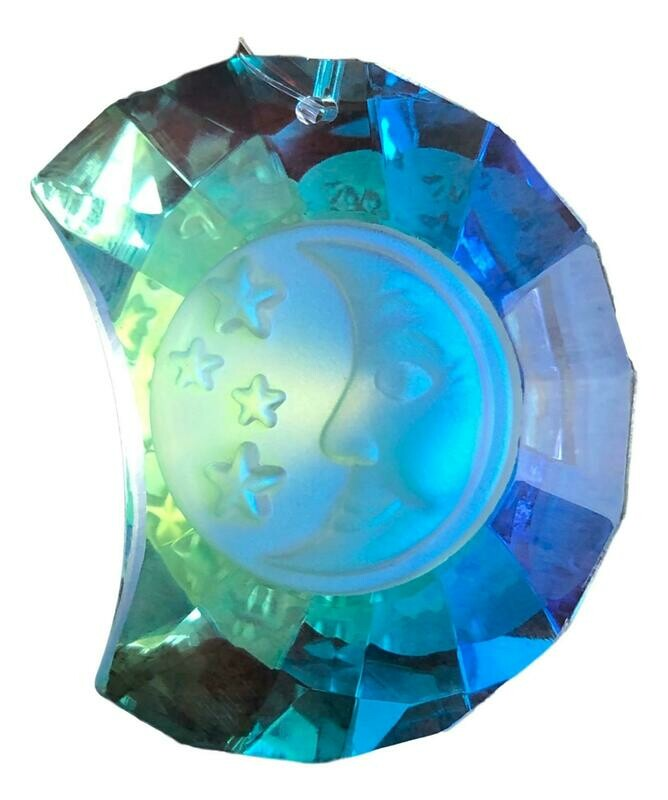 Aurora Bourealis Moon Face Egyptian Crystal Suncatcher 50mm