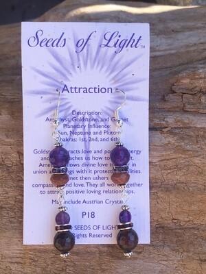 Attraction Amethyst Goldstone Dangle Earrings