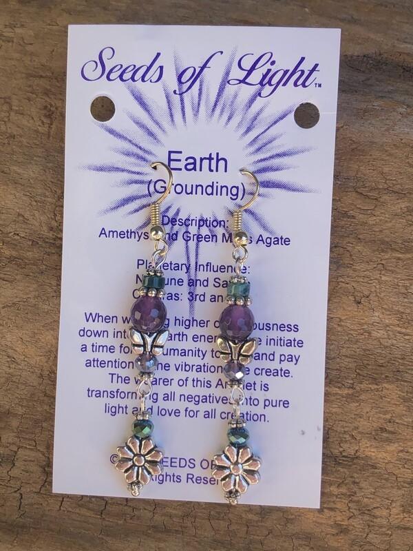 Earth Grounding Amethyst  Butterfly Dangle Earrings