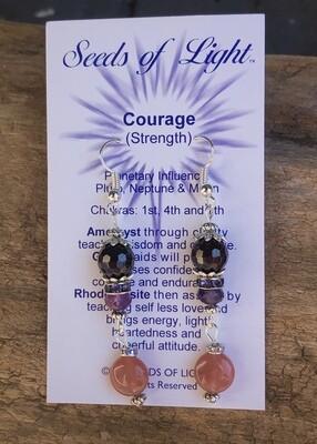 Courage & Strength Amethyst & Rhodocrosite Dangle Earrings