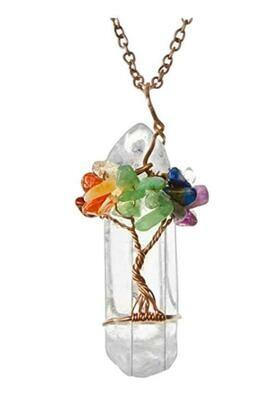 Mixed Tree of Life Gemstone Wrapped Quartz Pendant Necklace
