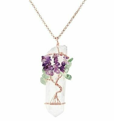 Tree of Life Wire Wrapped Quartz with Aventurine Amethyst Pendant Necklace