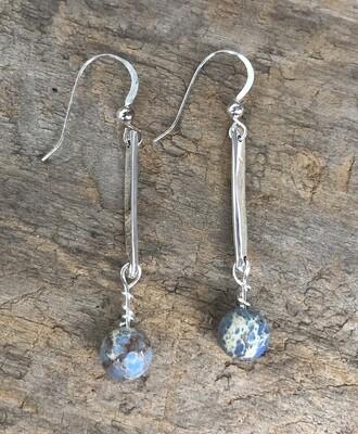 Jasper Sterling Silver Paddle Earrings