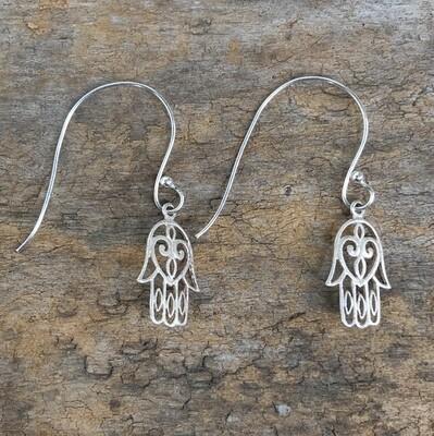 Sterling Silver Hamsa Hand Open Hoop Earrings