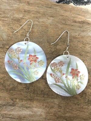 Painted Shell with Sterling Silver Earrings