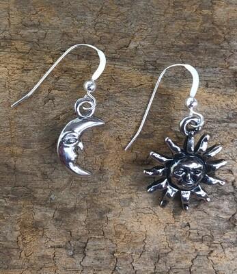 Moon and Sun Dangle Earrings