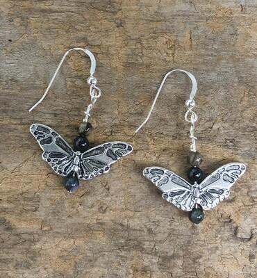 Labradorite Butterfly Dangle Earrings