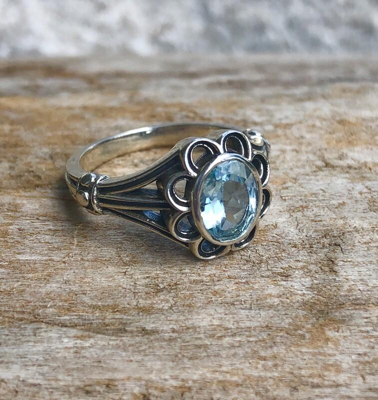 Sterling Silver Blue Topaz Flower Ring Size 7