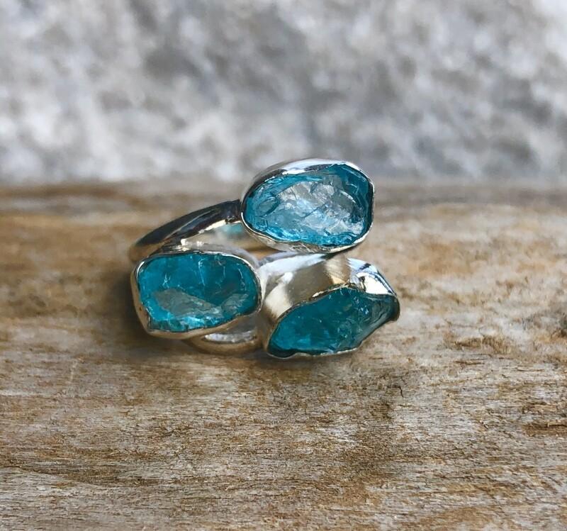 Triple Apatite Gemstone Ring Size 7