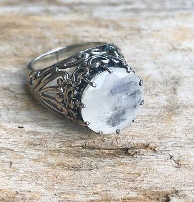 Round Rainbow Moonstone Goddess Statement Ring Size 8