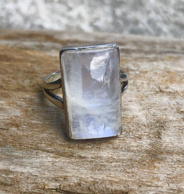 Flashy Moonstone Rectangular Statement Ring Size 8