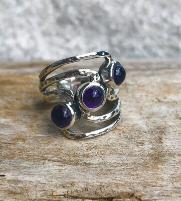 Triple Amethyst Gemstone Ring