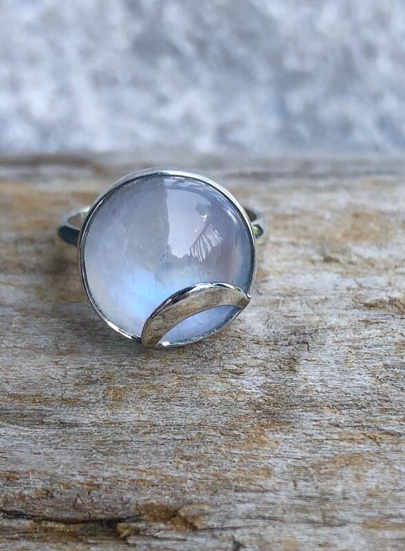 Crescent Moon Rainbow Moonstone Ring Size 6