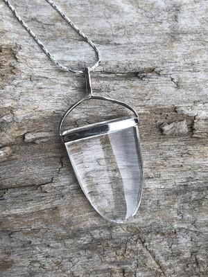 Clear Quartz Elipse Pendant Necklace