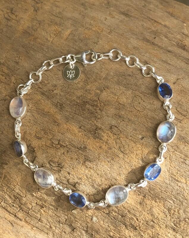 Rainbow Moonstone and Blue Kyanite Sterling Silver Bracelet