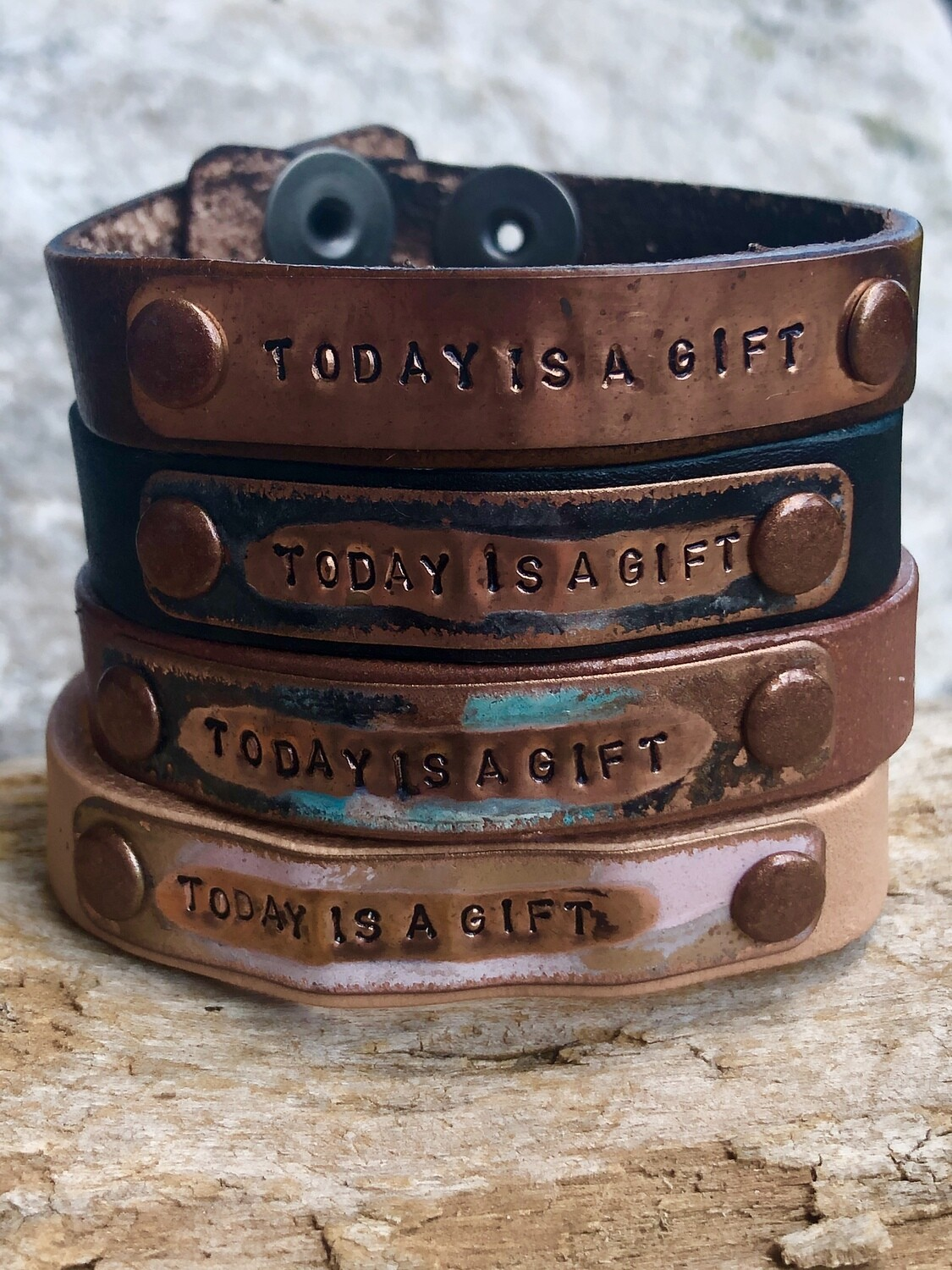 Kate Mesta Today is a Gift Leather Snap Bracelet