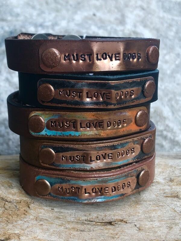 Kate Mesta Must Love Dogs Leather Snap Bracelet