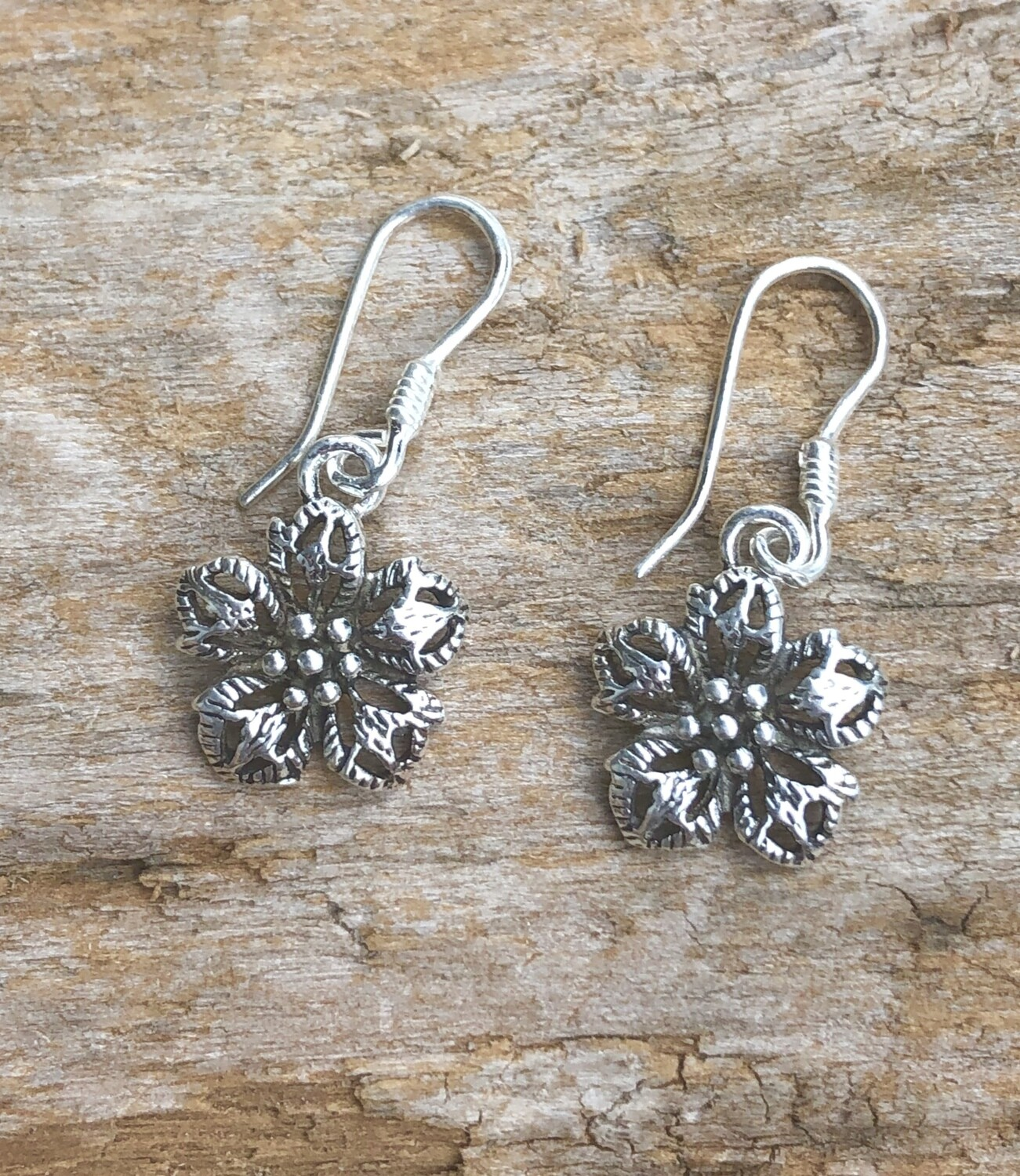 Sterling Silver Bali Flower Earrings