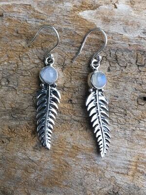 Silver Leaf Rainbow Moonstone Charm Earrings
