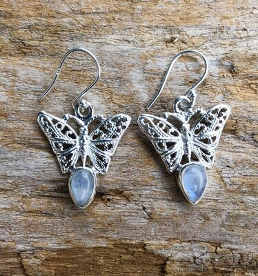 Rainbow Moonstone Sterling Silver Butterfly Earrings