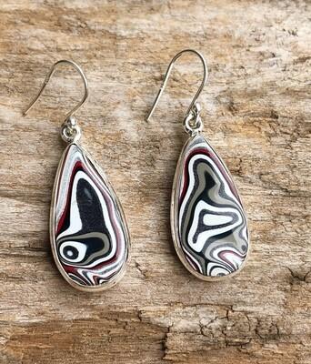 Sterling Silver Fordite Agate Earrings