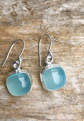 Natural Aqua Chalcedony Sterling Silver Earrings