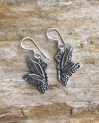 Filigree Bali Butterfly Sterling Silver Earrings