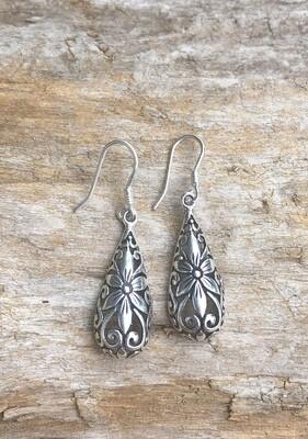 Filigree Bali Flower Sterling Silver Earrings