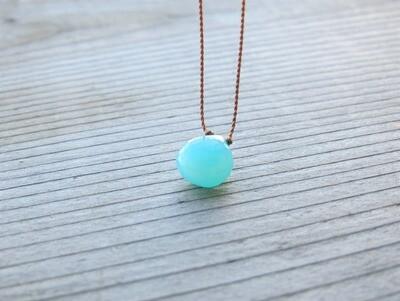 Aqua Chalcedony Minimalist Cord Necklace